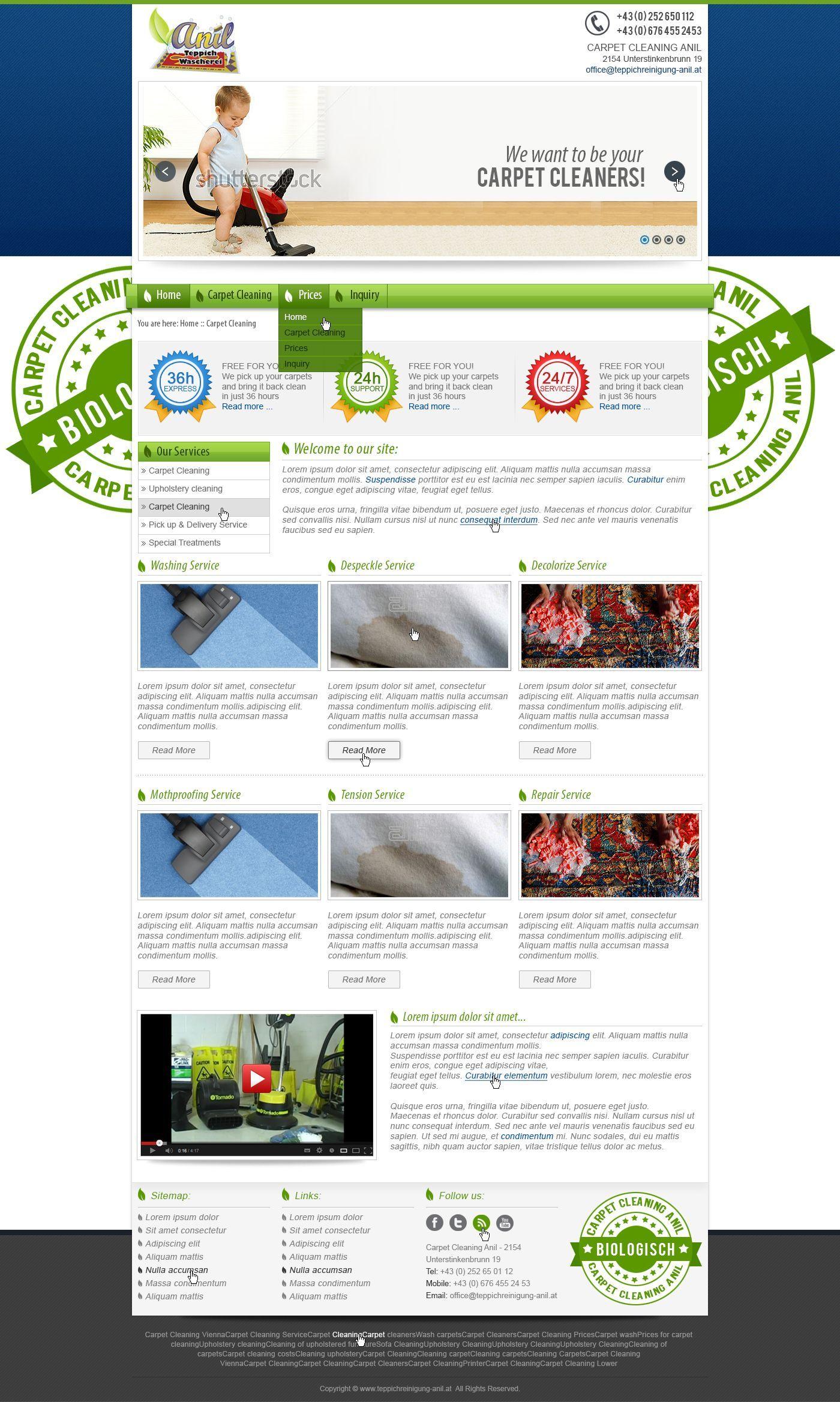 Webpage Templatedesign für ANIL Teppichreinigung