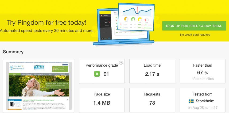 PageSpeed Optimierung - Ladezeit optimieren - Pingdom